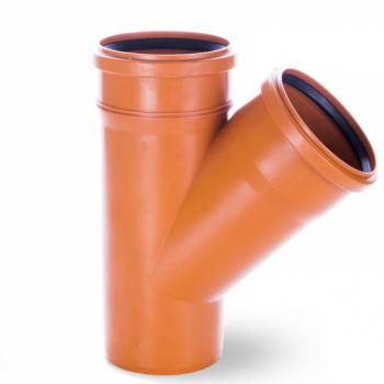 Trójnik kanalizacyjny przelotowy 200x200mm/45° PVC