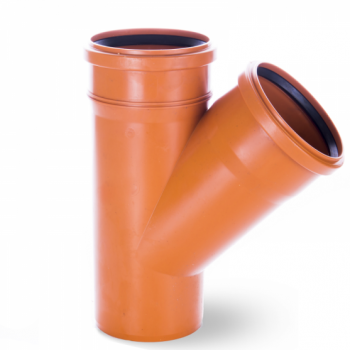 Trójnik kanalizacyjny przelotowy 250x250mm/45° PVC