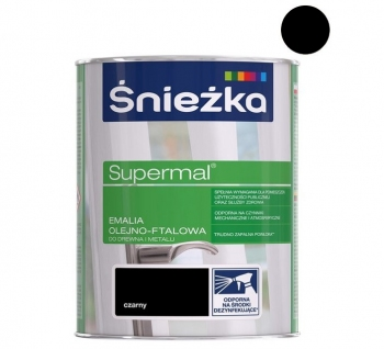 Emalia Olejno-Ftalowa SUPERMAL czarna matowa 0,8L ŚNIEŻKA