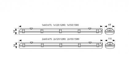 Oprawa hermetyczna 2x18W LED Hermetic 60cm KOBI