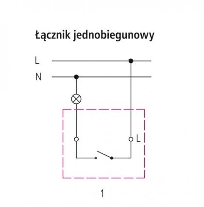 łącznik jednobiegunowy - schemat