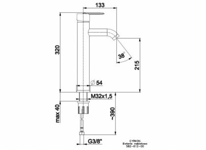 Bateria umywalkowa nablatowa CYRKON 582-612-00
