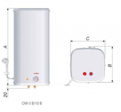 Podgrzewacz elektryczny wody z baterią OW-10B+ BIAWAR bezciśnieniowy
