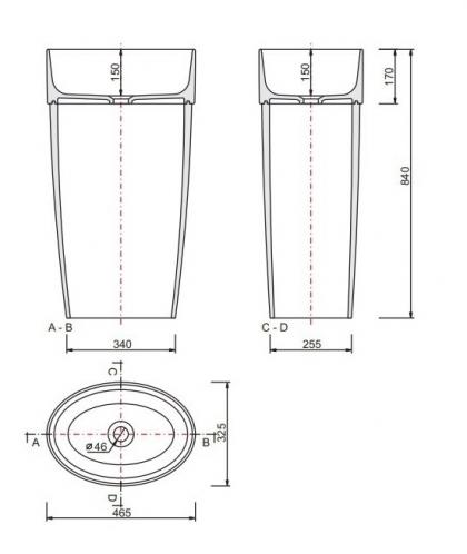 Umywalka stojąca 32x46x84cm UNIQA Besco
