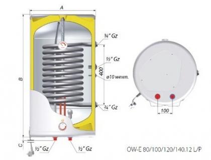 Zasobnik C.W.U. pionowy 80L SPIRO - rysunek techniczny