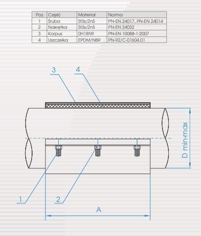 Opaska naprawcza do rur DN100 (116-120) żeliwo DOMEX