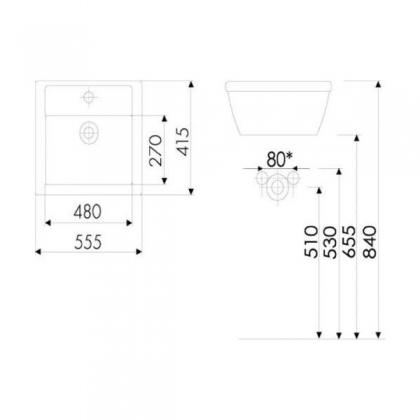 Umywalka nablatowa RETRO 45cm Hybner 8212
