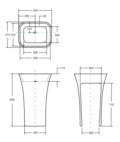 Umywalka stojąca 40x50x85cm ASSOS Besco