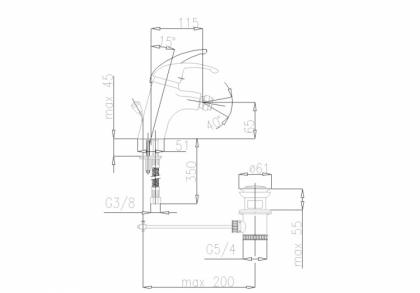 Bateria bidetowa PIRYT 442-945-00 rysueke techniczny