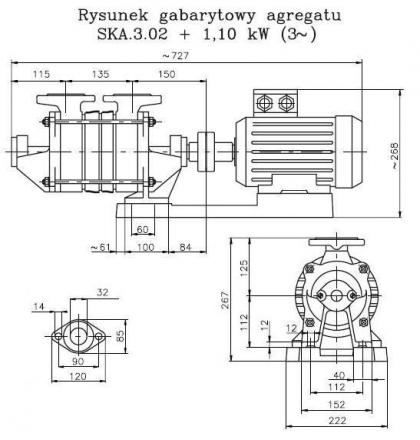 Pompa wirowa SKA 3.02 1,1kW/380V bez silnika HYDRO-VACUUM
