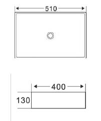 Umywalka nablatowa prostokątna ATE rysunek techniczny