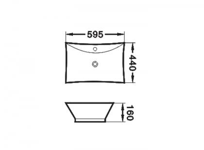 Umywalka nablatowa IZYDA Invena rysunek techniczny