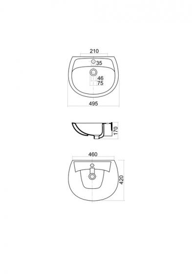 Umywalka wisząca meblowa AVRE 50cm KFA